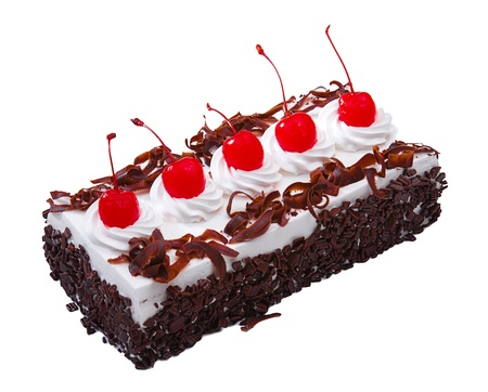 mousse: Chocolate cake decorated by mousse whipping cream and cherry on top