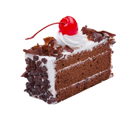 custard slice: Chocolate cake topping with mousse chocolates ships and cherry on white