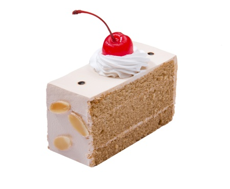 mousse: Coffee cake with mousse whipping cream almond nut and cherry on top