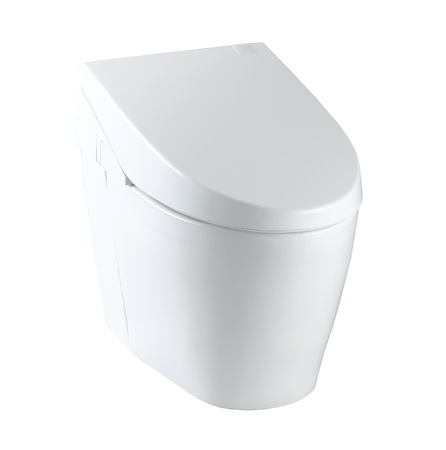 toilet bowl: Clean and useful toilet bowl wall type great for modern bathroom Stock Photo