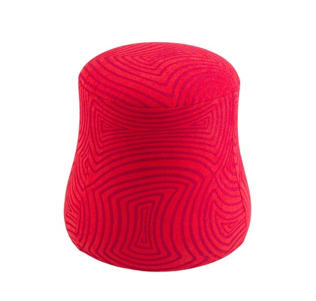stool: Red fabric stool in modern design isolated