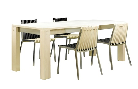 dinning table: Beautiful dinning table furniture and chairs set in ivory color isolated