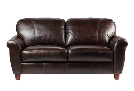 sofa furniture: Luxury brown leather sofa a great leather residence furniture isolated  Stock Photo