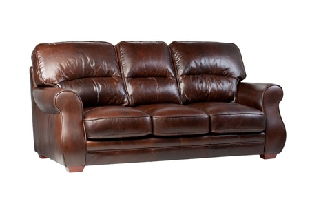 Luxury brown leather sofa the great leather furniture to fit your home isolated  photo