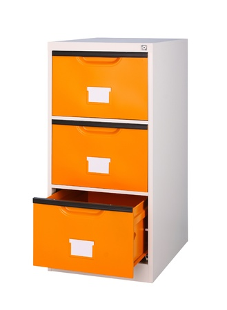 Three drawers cabinet in bright orange color isolates on white  photo