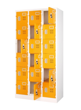 Beautiful and colorful locker in bright orange color  photo