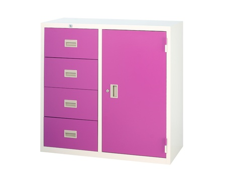 Cabinet in violet color with drawers and shelf photo