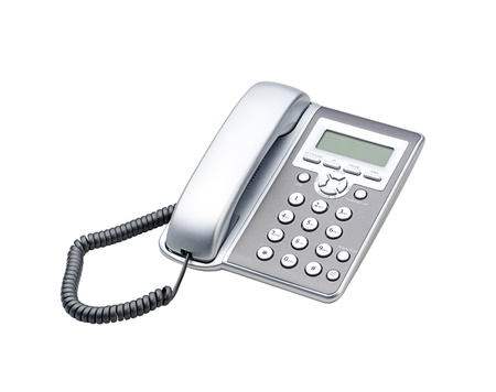 landlines: office and home telephone isolated on white