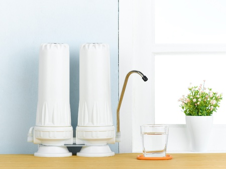 kitchen device: great water filter to purify your drinking water  Stock Photo