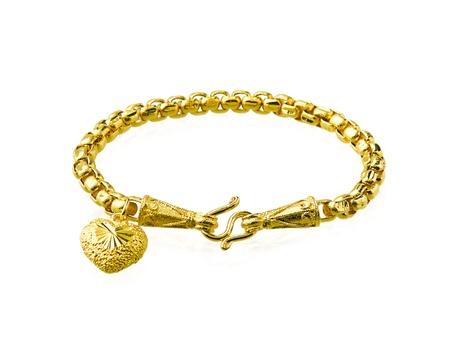 pendant: Golden bracelet with heart shape
