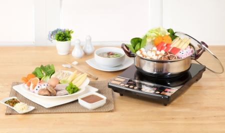Electric appliance aluminum sukiyaki pot in the kitchen  photo