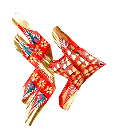 A handicraft painting fish toy for hanging the baby cot to letting they sleep well photo