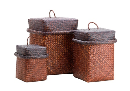 hamper: Useful wooden boxes for use and decorate on white background