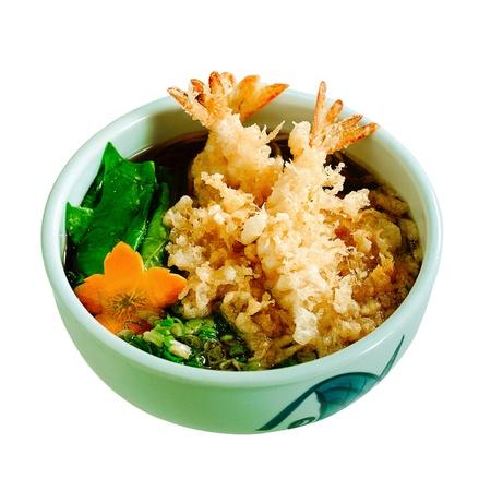 favorite soup: Japanese ramen with shrimp Tempura isolates on white background  Stock Photo