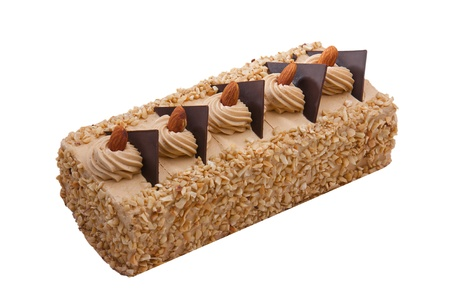 isolates: Sweet coffee cake decorates with almond nuts isolates on white