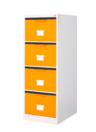 cabinet with 4 drawers if your need orange color this is the right choice Stock Photo - 16446432