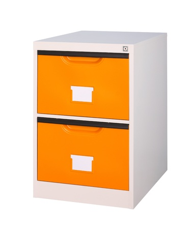 Bright orange cabinet the steel office furniture isolates  photo