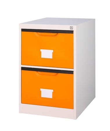 isolates: Bright orange cabinet the steel office furniture isolates