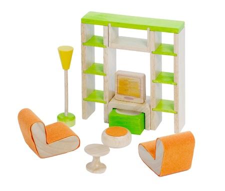 doll house: Living room toys furniture for kids on white