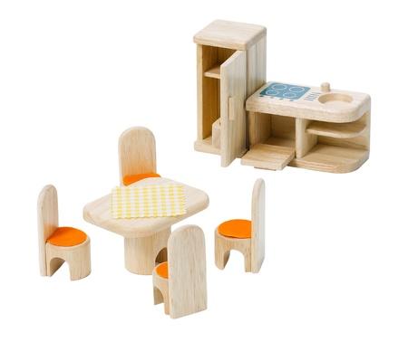 isolates: Wooden kitchen toys set isolates on white