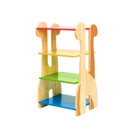 Colorful empty wooden Giraffe shelf for kids to putting there stuffs Stock Photo - 16445441