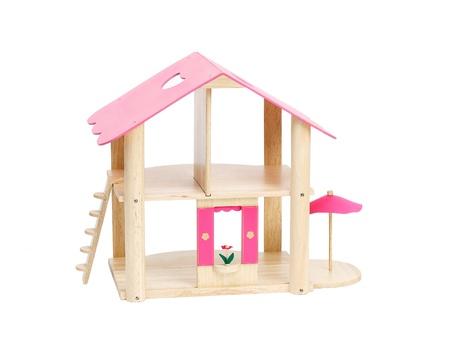 Nice empty dollhouse isolated on white  photo