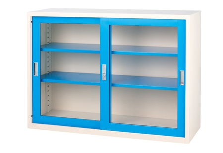 Beautiful blue empty cabinet with transparent mirror doors photo