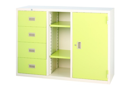 file cabinet: Beautiful bright green cabinet factory steel furniture  Stock Photo