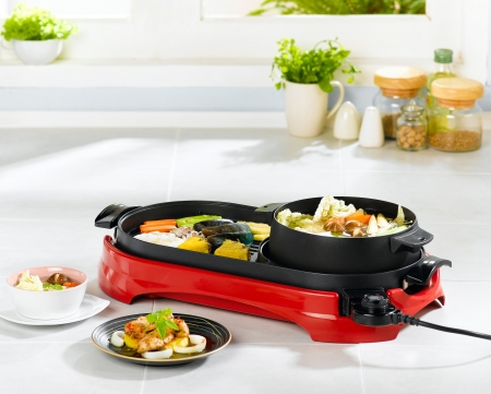 Two in one electric pan for barbecue and cooking curry a nice kitchenware photo