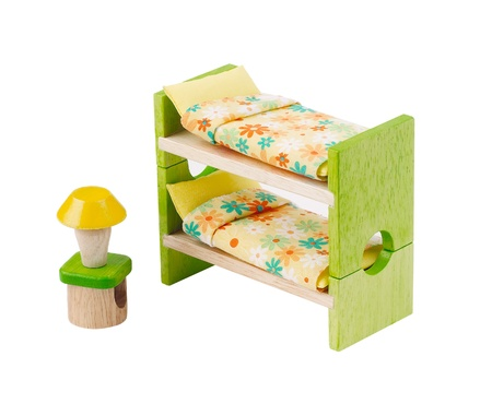 Wooden bed toy furniture for children learning to decorates bedroom photo