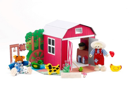 doll house: Paper doll barn house western style with farmer and there pets