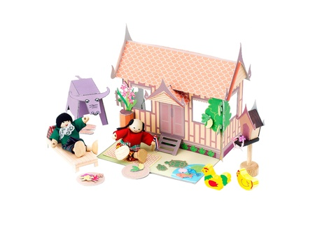 doll house: Paper doll house Thai style with Thai farmers enjoy there life