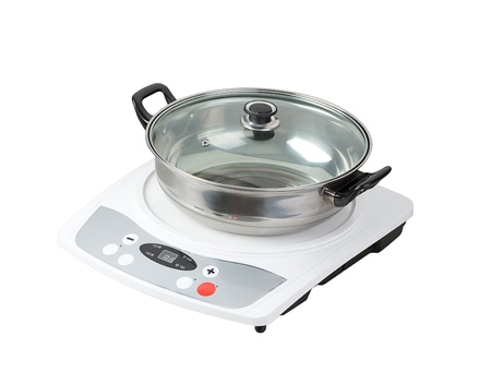 electric stove: Electric stove with empty pot the necessary kitchenware