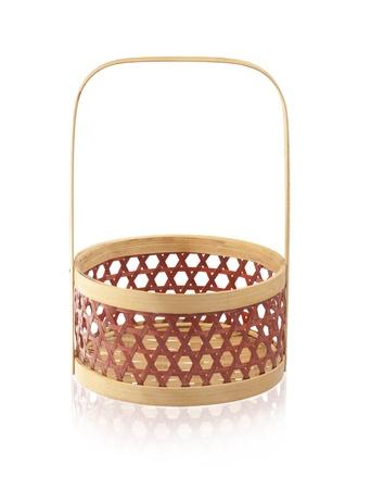 isolates: Empty bamboo basket isolates on white