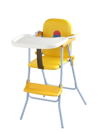 Nice child eating chair on white background  photo