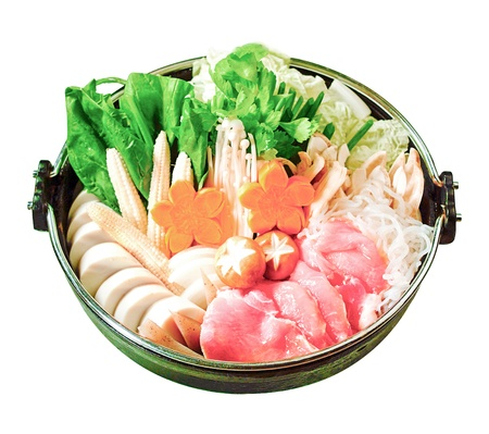 Japanese Sukiyaki set ready made for cooking isolates  photo