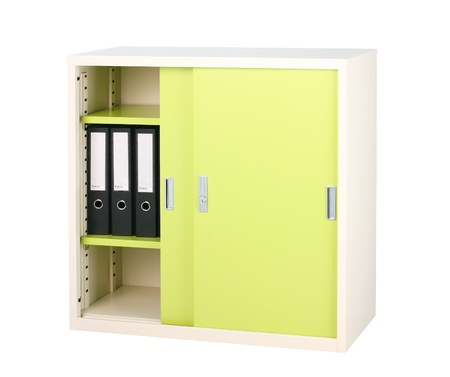 school things: Steel furniture in bright green color great for storage files