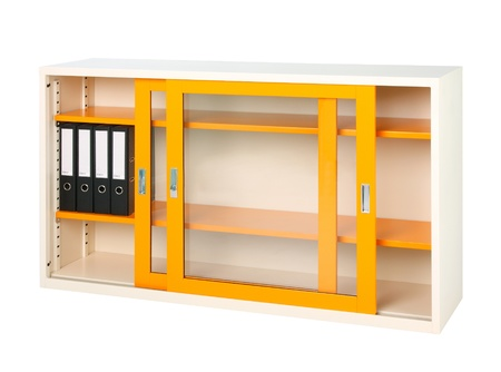 Nice design of the orange steel cabinet with mirror doors photo