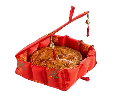 중국 새 해 축제, 예쁜 선물 상자에 달 케이크