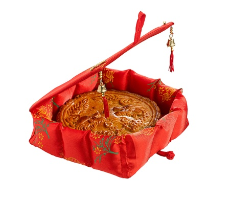 cooking ware: moon cake in the pretty gift box for Chinese new year festival