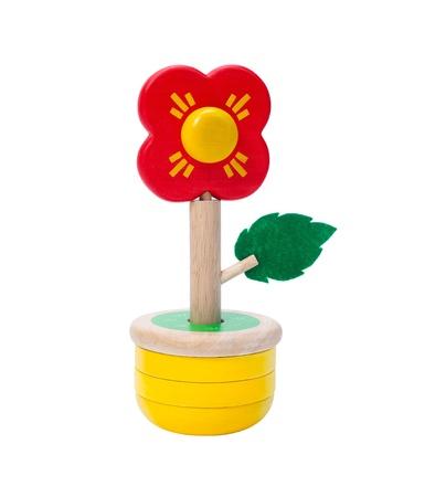 isolates: Colorful wooden flower toy vase isolates on white Stock Photo
