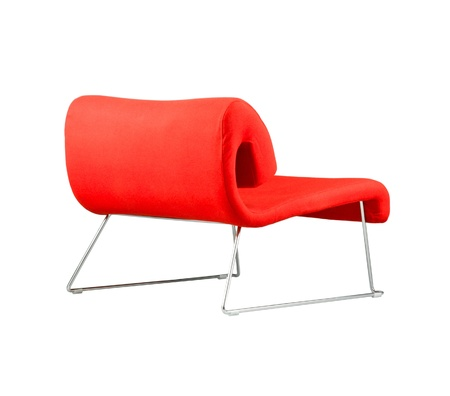 isolates: Beautiful modern design of red chair isolates  Stock Photo