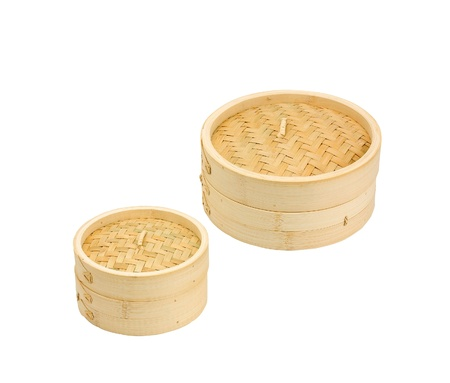 Bamboo dim sum steamed container isolates on white Stock Photo - 16653710