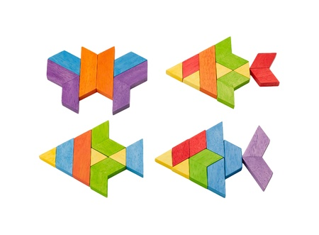 toy fish: Colorful wooden toy bricks arranges to be fish
