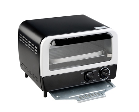 toaster: Empty toaster oven one of the necessary kitchenware