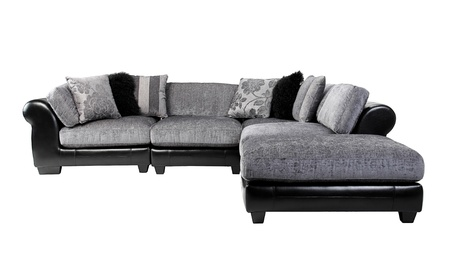 Nice and cozy of the luxury mix leather and fabric sofa bench isolated  Stock Photo - 16654341