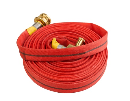smoke alarm: fire hose soft pipe extension water cable isolated on white  Stock Photo