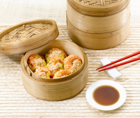Dim sum with shrimps great asian food photo