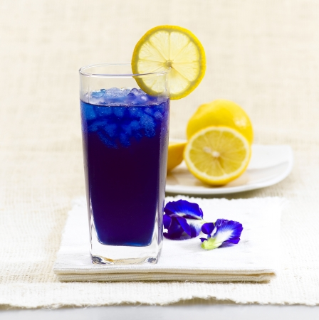 Fresh butterfly pea herb juice for health in cool glass Stock Photo - 16654172