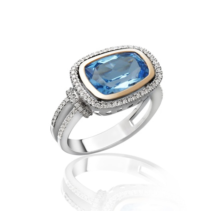 sapphire: Nice and most beautiful sapphire ring isolates on white